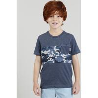 a3b090ac67706 Camiseta Infantil Com Estampa Camuflada Com Bolso Manga Curta Gola Careca  Azul Marinho