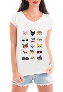 Camiseta Criativa Urbana Cat Love Patches - Feminino-Branco