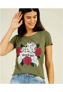 Camiseta Estampa Caveira Mexicana Briard Manga Curta Feminina - Feminino-Verde Escuro