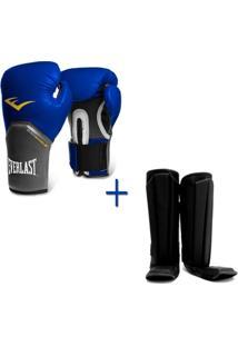 Kit Muay Thai Luva Everlast Azul 16Oz Caneleira - Unissex