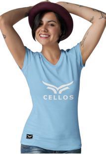 Camiseta Feminina Gola V Cellos Classic Ii Premium W Azul Claro