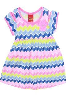 Vestido Infantil - Meia Malha - Geométrico - Azul - Kyly - 2