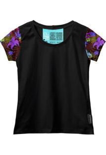 Camiseta Baby Look Feminina Algodão Estampa Flor Conforto - Feminino
