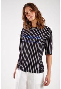 Camiseta Malha Listras Silk Sacada Feminina - Feminino
