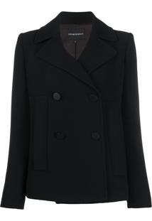 Emporio Armani Short Double Breasted Jacket - Preto