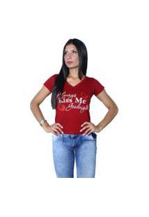 Camiseta Heide Ribeiro Always Kiss Me Goodnight Vinho