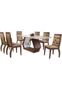 Conjunto De Mesa Para Sala De Jantar Ibis Tampo De Vidro Com 6 Cadeiras Agata-Rufato - Animalle Chocolate / Off White / Café
