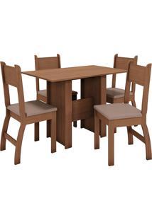 Conjunto De Mesa E 4 Cadeiras Para Sala De Jantar Milano Fosco-Poliman - Carvalho / Savana