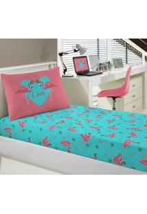 Jogo Lençol Infantil Solteiro Malha Joy Flamingos Portallar