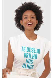 Camiseta Colcci Lettering Off-White - Off White - Feminino - Algodã£O - Dafiti