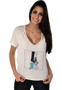 f838833f5 Blusa Manga Curta Banca Fashion Casual Chique Off-White