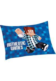 Fronha Avulsa Estampada Authentic Games 50 Cm X 70 Cm Com 1 Peça Lepper Azul