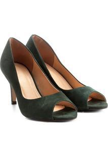 Peep Toe Couro Shoestock Salto Fino Básico - Feminino