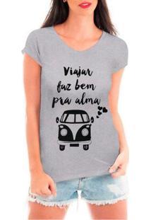 Camiseta Bata Criativa Urbana Viajar Viagem Love Kombi Carros Antigos - Feminino
