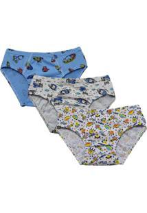 Kit 3 Cuecas Slip Infantis Em Algodão Estampadas