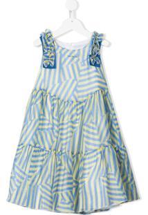 Mi Mi Sol Vestido Com Estampa De Listras - Azul