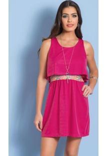 Vestido Sem Manga Pink Com Elástico Estampado
