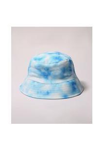 Chapéu Bucket Hat Dupla Face Estampado Tie Dye Azul