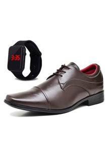 Sapato Social Com Relógio Led Dubuy 832Mr Marrom