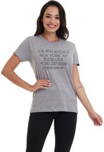 Camiseta Feminina Joss Go Ny Cinza Mescla - Kanui
