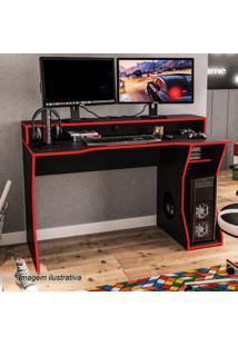 Mesa Gamer Fremont- Preta & Vermelha- 87,5X130X59Cm