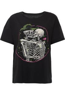 Camiseta Ellus 2Nd Floor Skull Kiss Preta