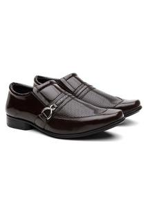 Sapato Social Masculino Verniz Bico Quadrado Conforto Macio Marrom