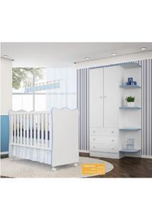 Jogo De Quarto De Bebê Doce Sonho Qmovi 2 Peças Com Berço E Guarda-Roupas - Branco Azul