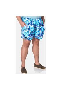 Bermudas Masculina Tactel Plus Size Azul Floral