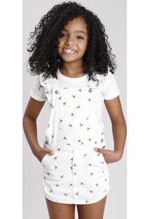 Jardineira Short Saia De Sarja Infantil Estampada Floral Com Babado Off White
