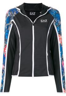 Ea7 Emporio Armani Hooded Sports Jacket - Preto