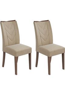 Conjunto De Cadeiras De Jantar 2 Atacama Veludo Imbuia E Bege