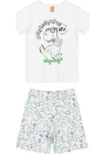Pijama Infantil Manga Longa Branco