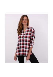 Camisa Xadrez Com Botões | Marfinno | Vermelho | Gg