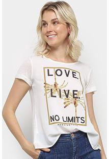 Camiseta Acostamento Love Live No Limits Feminina - Feminino-Off White