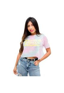 Camiseta Sideway Mulher Maravilha - Tie Dye