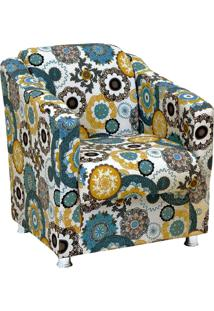 Poltrona Decorativa Tilla Recepção Tecido Estampado Floral Verde D24 - D'Rossi