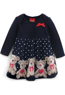 Vestido Kyly Infantil Ursos Azul-Marinho - Tricae