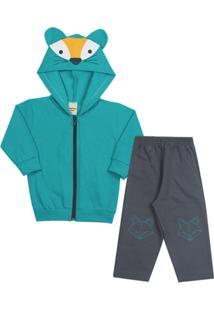Conjunto Infantil Inverno Jaqueta Com Capuz E Orelhinhas E Calça Em Moletom  Masculino - Masculino b87b72c67e31e