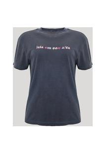 """T-Shirt De Algodão Plus Size Com Bordado """"Leia Em Voz Alta"""" Manga Curta Decote Redondo Mindset E Anavitória Azul Marinho"""