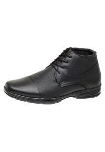 Sapato Social Bota Conforto Cano Alto Mr Shoes Couro 5061 Preto