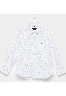 Camisa Infantil Yachtmaster Meia Malha Tricoline Estampada - Masculino-Branco