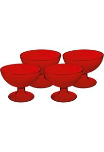 Conjunto 4 Taças De Sobremesa Cozy Vermelho Transparente