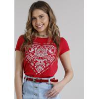 ade971f65 CEA. Blusa Feminina Coração Paisley Manga Curta Decote Redondo Vermelha