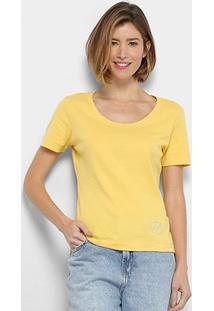 Camiseta Ellus Gola Ampla Feminina - Feminino-Amarelo