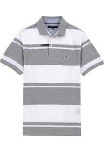 Polo Tommy Hilfiger Masculina Wicking Stripes Branco E Cinza