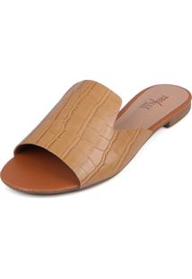 Rasteirinha Trivalle Shoes Croco Nude