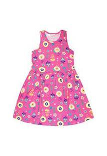 Vestido Infantil Regata Rosa Flores (12/14) - Brandili - Tamanho 12 - Rosa