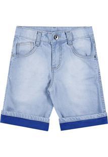 Bermuda Jeans Infantil Boca Grande Masculino - Masculino-Azul