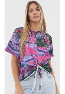 Camiseta Colcci Floral Rosa/Azul - Kanui